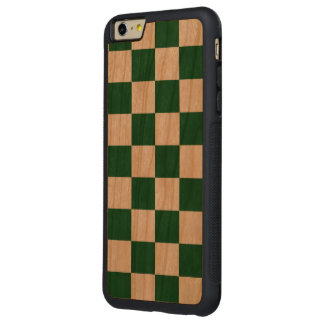 Checkered Green and White Carved® Cherry iPhone 6 Plus Bumper Case