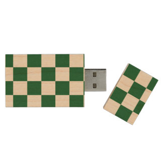 Checkered Green and White Wood USB 3.0 Flash Drive
