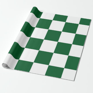 Checkered Green and White Wrapping Paper