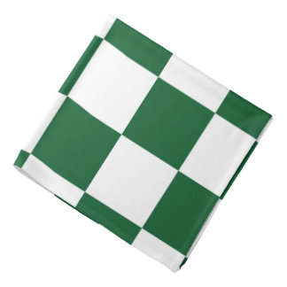 Checkered Green and White Bandana