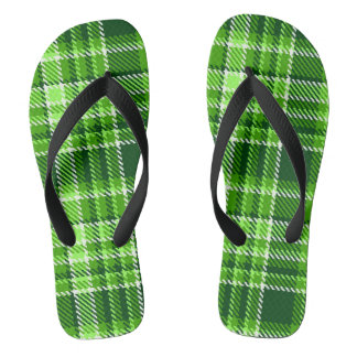 Checkered Green Color Pattern Flip Flops
