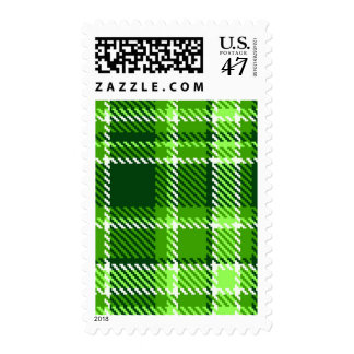 Checkered Green Color Pattern Postage Stamp