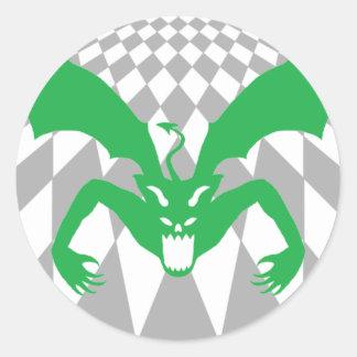 Checkered Green Devil Classic Round Sticker