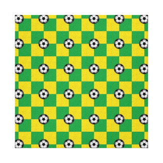 Checkered green yellow with soccer balls canvas print