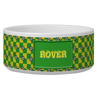 Checkered green yellow with soccer balls pet water bowl