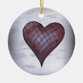 Checkered Heart Ceramic Ornament