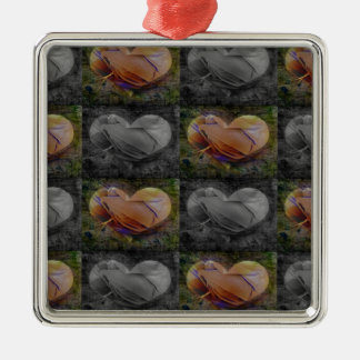 Checkered Heart Image in Peach and Grey Ornament
