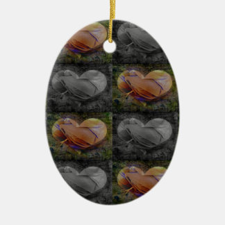 Checkered Heart Image in Peach and Grey Christmas Ornament