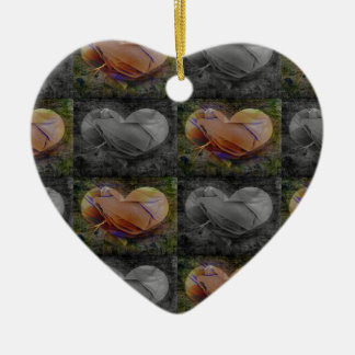 Checkered Heart Image in Peach and Grey Christmas Tree Ornaments