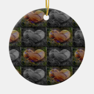 Checkered Heart Image in Peach and Grey Christmas Ornaments