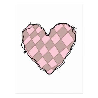 CHECKERED HEART POST CARD