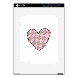 CHECKERED HEART DECALS FOR iPad 3