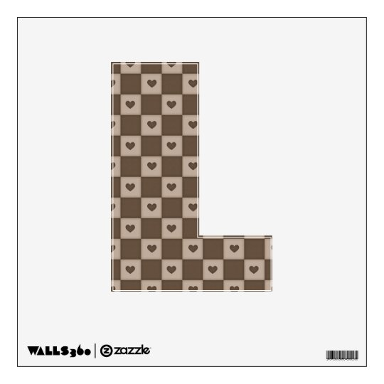 Checkered Hearts Letter L Wall Decal