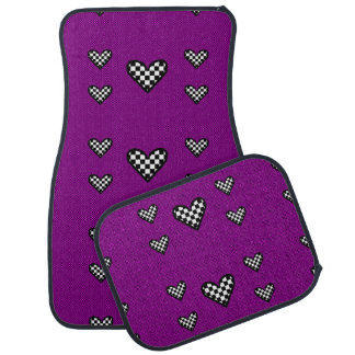 Checkered Hearts on Pink and Black Car Floor Mat