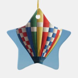 Checkered Hot Air Balloon New Mexico Ceramic Ornament