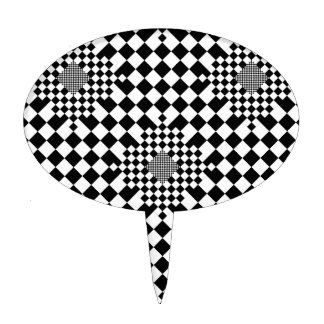 Checkered Illusion by Kenneth Yoncich Cake Topper