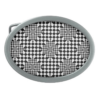 Checkered Illusion by Kenneth Yoncich Oval Belt Buckle