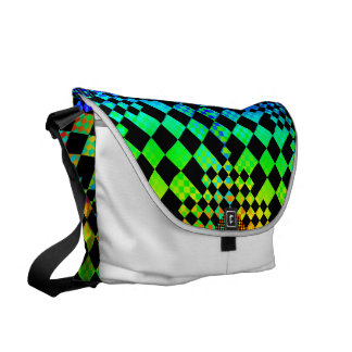 Checkered Illusion Courier Bag