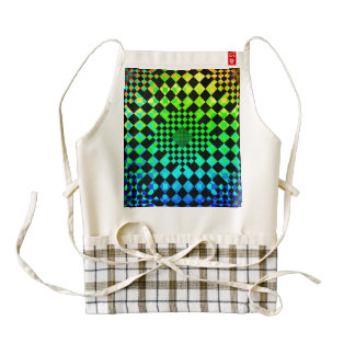 Checkered Illusion Zazzle HEART Apron