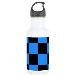 Checkered Large - Black and Blue Water Bottle