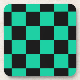 Checkered Large - Black and Caribbean Green Coasters
