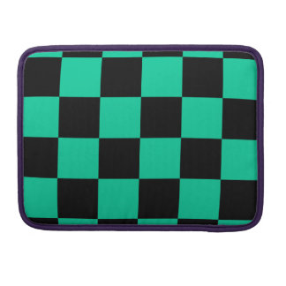 Checkered Large - Black and Caribbean Green Sleeve For MacBook Pro