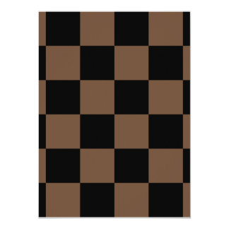 Checkered Large - Black and Coffee 5.5x7.5 Paper Invitation Card