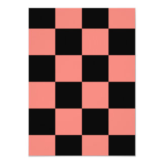 """Checkered Large - Black and Coral Pink 4.5"""" X 6.25"""" Invitation Card"""