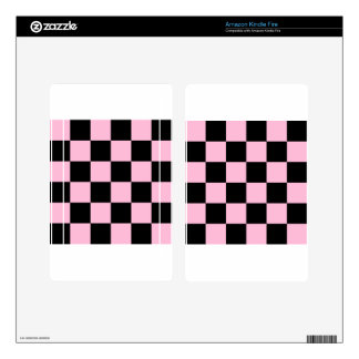 Checkered Large - Black and Cotton Candy Decals For Kindle Fire