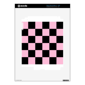 Checkered Large - Black and Cotton Candy iPad 2 Skin