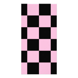 Checkered Large - Black and Cotton Candy Custom Photo Card