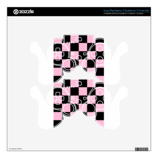 Checkered Large - Black and Cotton Candy PS3 Controller Decals
