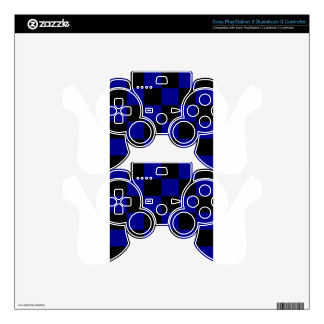 Checkered Large - Black and Dark Blue PS3 Controller Skin