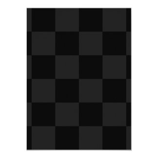 Checkered Large - Black and Dark Gray 5.5x7.5 Paper Invitation Card