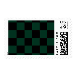 Checkered Large - Black and Dark Green Postage Stamp
