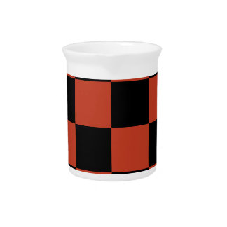 Checkered Large - Black and Dark Pastel Red Pitcher