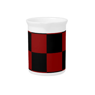 Checkered Large - Black and Dark Red Beverage Pitcher