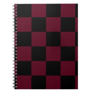 Checkered Large - Black and Dark Scarlet Spiral Notebooks