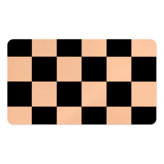 Checkered Large - Black and Deep Peach Pack Of Standard Business Cards