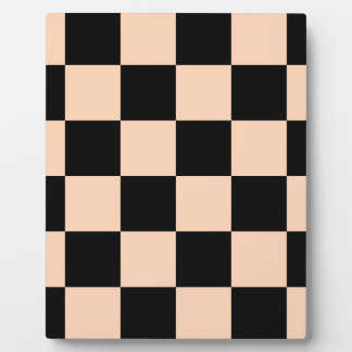 Checkered Large - Black and Deep Peach Plaque