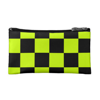 Checkered Large - Black and Fluorescent Yellow Makeup Bag