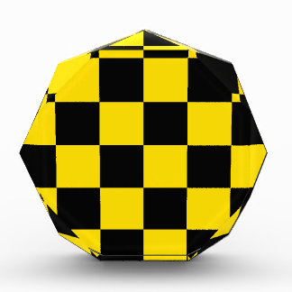 Checkered Large - Black and Golden Yellow Acrylic Award
