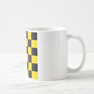 Checkered Large - Black and Golden Yellow Coffee Mug