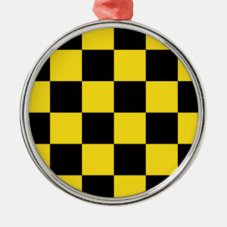 Checkered Large - Black and Golden Yellow Round Metal Christmas Ornament