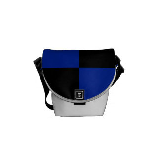Checkered Large - Black and Imperial Blue Courier Bag