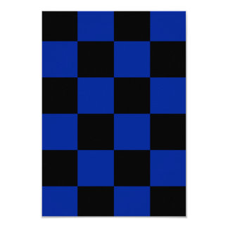 Checkered Large - Black and Imperial Blue 3.5x5 Paper Invitation Card