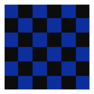 Checkered Large - Black and Imperial Blue 5.25x5.25 Square Paper Invitation Card