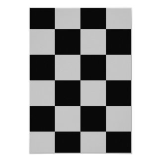 Checkered Large - Black and Light Gray 3.5x5 Paper Invitation Card