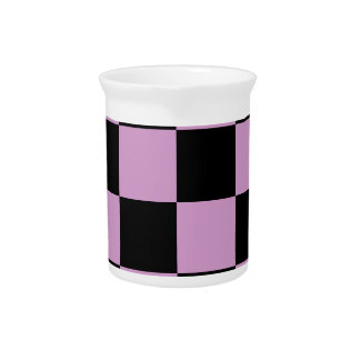 Checkered Large - Black and Light Medium Orchid Beverage Pitcher