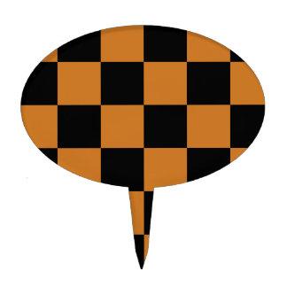 Checkered Large - Black and Ochre Cake Picks